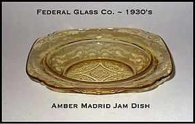 Federal Glass ~ Amber Madrid ~ Shallow Jam Dish