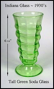 Indiana Glass ~ 1930's Tall Green Soda FOuntain Glass