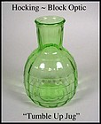 Hocking Glass ~ Block Optic Green Tumble Up Jug 1930s