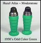 Hazel Atlas Fired On Moderntone 50's Odd Green Shakers