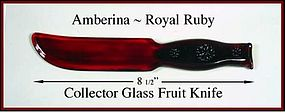Unusual Royal Ruby Amberina Embssed Kitchen Fruit Knife
