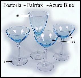 """Fostoria Fairfax Azure Blue 3~6"""" Champagne~1 Goblet"""