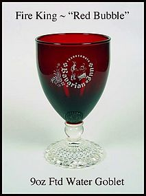 Fire King ~ Red Bubble Footed Water Goblet Advertising