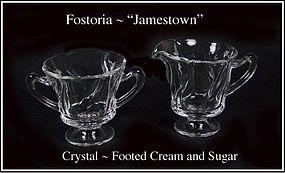 Fostoria Glass ~ Jametown Crystal Ftd Cream & Sugar