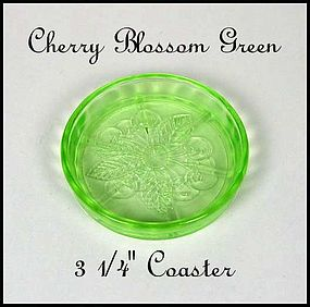 Jeannette Glass ~ Cherry Blossom Green ~ Coaster