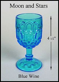 L.E. Smith ~ Moon and Stars Blue Stemmed Wine Goblet