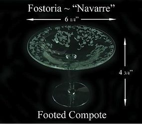 "Fostoria Glass Co. ~ 1930's ~ ""Navarre"" 6"" Compote"