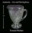 """Iris and Herringbone Crystal 9 1/2"""" Footed Pitcher"""