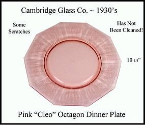 "Cambridge Cleo Pink 10 1/4"" Octagon Dinner Plate"