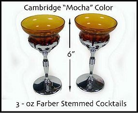 Cambridge Farber Tall 3oz Mocha Goblets-Nice!