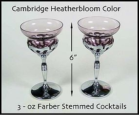 Cambridge Farber Tall 3oz Heatherbloom Goblets-Nice!