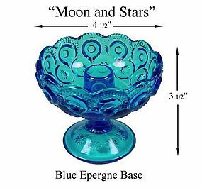 L.E. Smith Moon and Stars Blue Ftd Epergne Base Only