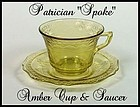 Federal ~ 1930s ~ Patrician Spoke Amber Cup & Saucer