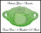 "Indiana Glass ~ Avocado Sweet Pear 5 1/4"" Handled Bowl"