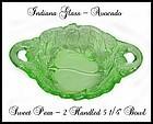 "Indiana Glass ~ Avocado Sweet Pear 5 1/4"" Handled Bowl"