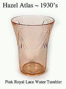 Hazel-Atlas 1930's Royal Lace Pink 9 oz Water Tumbler