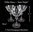 Tiffin Glass ~ June Night ~ 3 Tall Champagne Sherberts