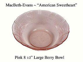 """MacBeth-Evans American Sweetheart Pink Lg 9"""" Berry Bowl"""