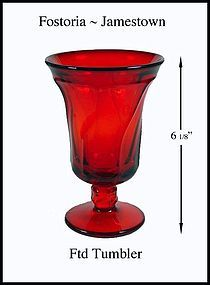 "Fostoria Jamestown Ruby 6"" Footed Tumbler-Stemmed"