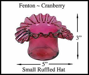 Fenton Cranberry Small Ruffled Hat Unsigned
