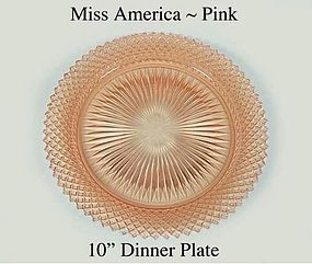 "Hocking Miss Amerca Pink 10"" Dinner Plate 1930's"