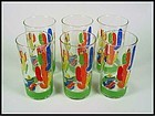 Libbey 6 Mexican Scene Fiesta Style 12 oz Tea Glasses