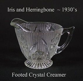 Jeannette Glass Iris and Herringbone Crystal Creamer