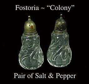 Fostoria Colony Pair of Salt and Pepper Shakers-Clean!