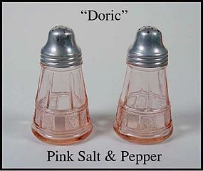 Jeannette ~ Doric Pink Salt and Pepper Shakers ~ 1930's