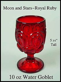 Moon Stars True Royal Ruby Fenton 10oz Water Goblet