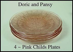 Doric and Pansy Pink 4 Childs Dinner Plates