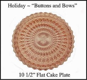 "Holiday Buttons and Bows 10 1/2"" Flat Cake Plate"