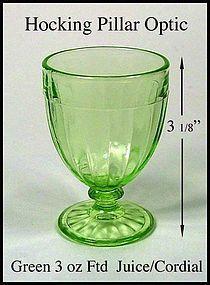 Hocking Pillar Optic Green Footed Juice/Cordial Tumbler
