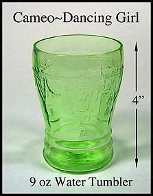Hocking ~ Cameo Dancing Girl Green 9oz Water Tumbler