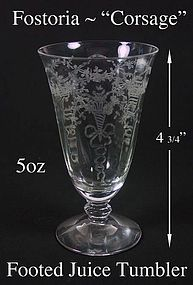 "Fostoria ""Corsage"" 5 oz Tall Footed Juice Tumbler"