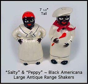 Black Americana Lg SALTY & PEPPY Mammy & Chef Shakers