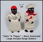Black Americana Lg SALTY & PEPPY Mammy & Chef Shakers