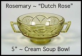 Federal Glass ~ Rosemary Dutch Rose Amber Cream Soup