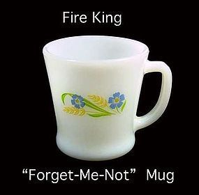 "Fire King ~ ""Forget Me Not"" Pattern ~ Coffee Mug"