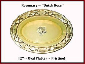 Federal Glass Rosemary Dutch Rose Oval Platter