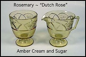 Federal ~ Rosemary Dutch Rose Amber Cream and Sugar