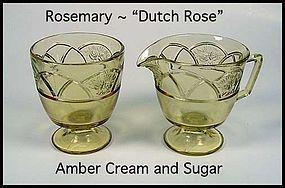 Federal ~ Rosemary Dutch Rose Amber Cream and Sugar