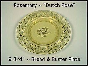 Federal Glass ~ Rosemary Dutch Rose Amber B&B Plate