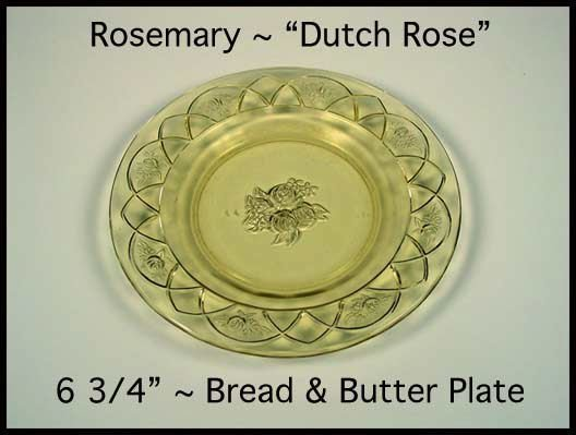 Federal Glass ~ Rosemary Dutch Rose Amber B&B Plate