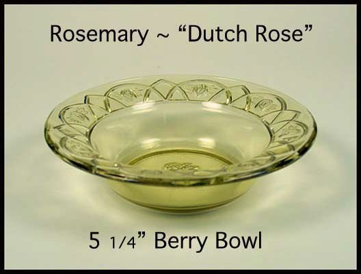 Federal Glass ~ Rosemary Dutch Rose Amber Berry Bowl