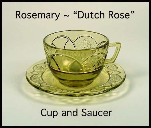 Federal Glass ~ Rosemary Dutch Rose Amber Cup & Saucer