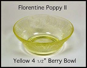 "Hazel Atlas Yellow Florentine Poppy II 4 1/2"" Berry Bwl"