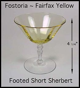 Fostoria Fairfax Topaz Yellow Short Sherbert