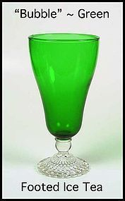 Hocking ~ Forest Green Bubble Tall Footed Ice Tea Glass