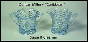 "Duncan Miller ~ ""Caribbean"" Wave ~ Blue Creamer & Sugar"